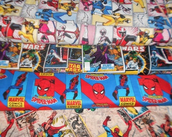 SUPER HERO Fabrics #15, Power Rangers, Star Wars, Spiderman, Marvel Retro Badge, Sold INDIVIDUALLY not as a group, by the Half Yard