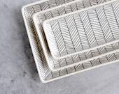 Herringbone Nesting Tray - White