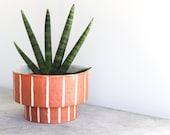 Pinstripe Planter - Rust