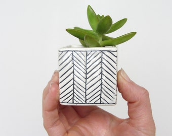Small Square Planter - Herringbone - Made to Order