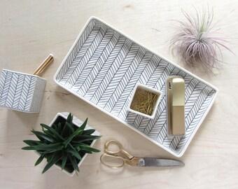 Herringbone Nesting Tray in Black and White - Made to Order