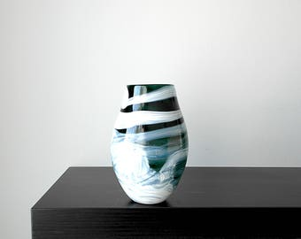 Handcrafted Art Glass Vase in Dark Teal Blue and White, Handblown Glass, Wedding Gift, Birthday Gift, Flower Vase, Unique Vase