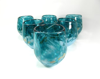 Stemless Wine Glasses in Teal Blue, Light Blue and Beige, set of 6, Wedding Gift, Made to order