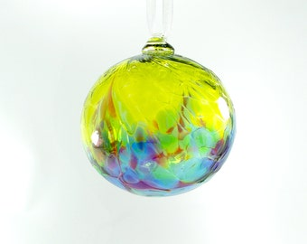 Handblown Glass Ornament in Spring Green with Blues, Purples and Greens, Blown Glass, Sun catcher, housewarming gift