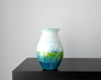 Handblown glass vase in Mint Green, White, Blues and Greens, Wedding Gift, Birthday gift, Blown Glass, Art, Unique Flower Vase