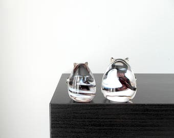 Pair of Black and White Cats, Glass Figurines, Handblown Art Glass, Cat lover, Cat Gift, Pet Memorial