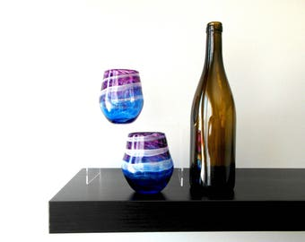 Pair of Stemless Wine Glasses in Blue and Purple with White, Handblown glass, Wine Gift, Wine Lover, Art, Glass, Wedding Gift, Birthday