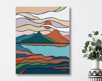 Mountain Wall Art Painting, Minimalist Mid-Century Modern Landscape, Scandinavian Art Style, Nature Art