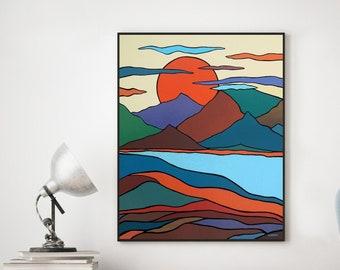 Original Mountain Painting, Mid Century Modern Wall Art, California Sun Mountain Wall Decor, Sierra Nevada Large Wall Art, Scandinavian Art