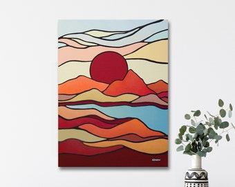 Sun Mountain Wall Art, Mid Century Modern Wall Art ORIGINAL Painting, Nature Art, Scandinavian Art, Red Orange Wall Decor