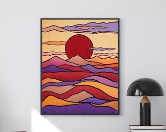 Sun Mountain Wall Art, Mid Century Modern Wall Art ORIGINAL Painting, Nature Art, Scandinavian Art, Large Wall Decor, Red Purple