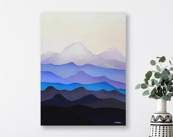 Mountains Wall Art Painting, Blue Ridge Mountains Landscape Art, North Carolina Art, Scandinavian Art Style, Abstract Art, Original Painting