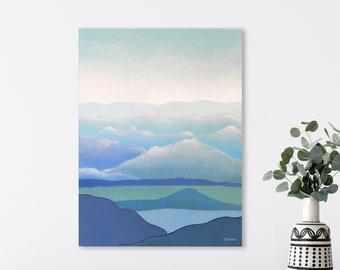Blue Mountain Wall Art, Blue Wall Art, Mountain Range Landscape Art Original Painting, Clouds Painting Nature Art, Scandinavian Art Style