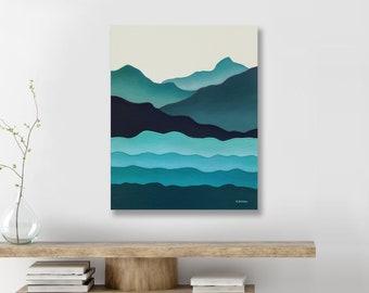 Mid Century Modern Mountain Painting, Minimalist Mountain Wall Art, Nordic Art, Abstract Ocean Painting, Big Sur California Coast Painting