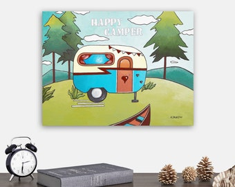 Happy Camper Original Painting Wall Art, RV Decor Canvas Art, Vintage Camper Travel Decor