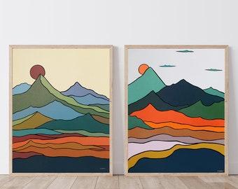 Set of 2 Prints, Mountain Wall Art, Scandinavian Nordic Art, Mid-Century Modern Art, Abstract Wall Art, Minimalist Landscape