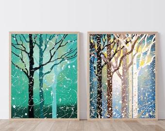 Tree Art Prints, Set of 2 Prints, Forest Wall Art, Set of 2 Wall Art, Forest Art, Nature Wall Art, Nature Prints, Tree Wall Art
