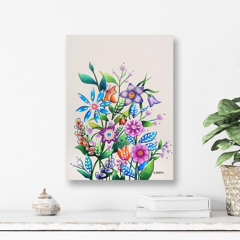 Wildflowers Painting Original Flower Wall Art on Canvas  Boho image 0