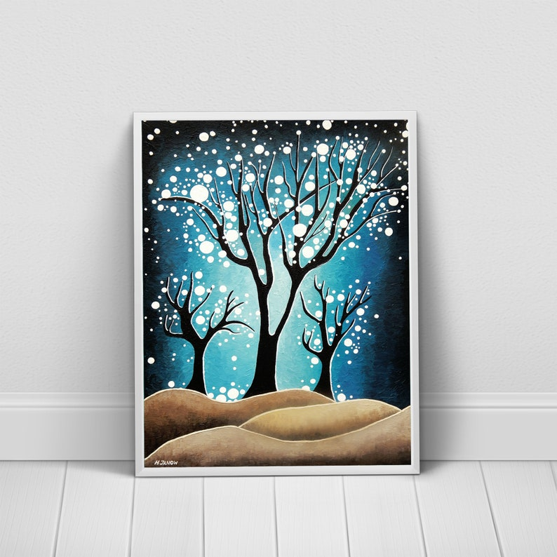Night Landscape Art Print Forest Wall Art  Blue and White image 0