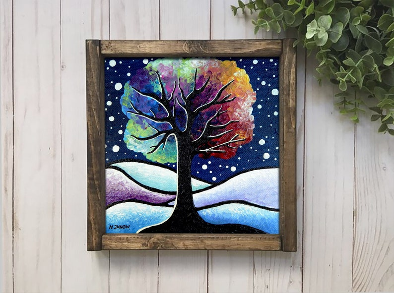 Woodland Christmas Gift Acrylic Pour Tree Art Original Tree image 0
