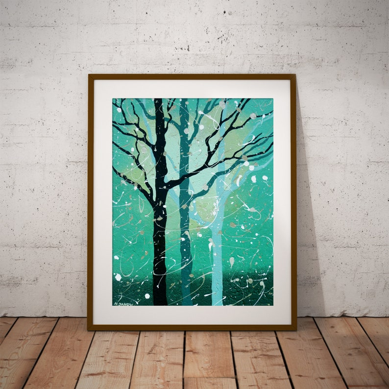 Turquoise Tree Print Tree Wall Art Forest Wall Decor image 0