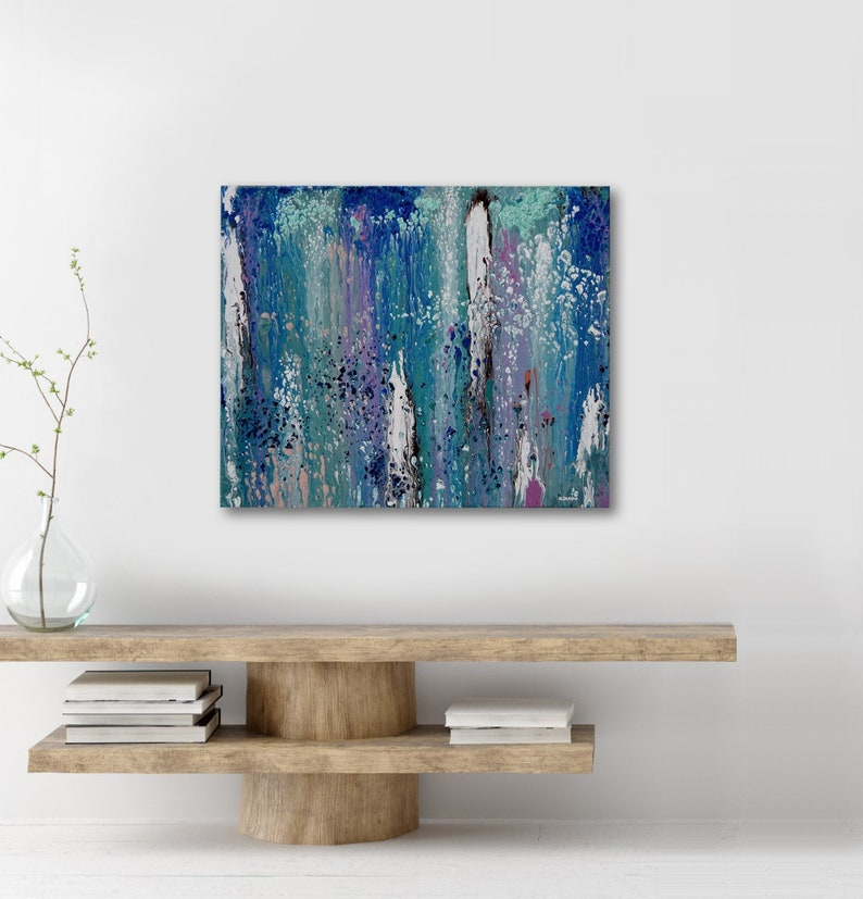Original Abstract Painting Fluid Acrylic Pour Art Blue image 0