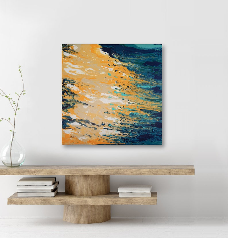 Abstract Seascape Modern Art Acrylic Pour Fluid Painting image 0