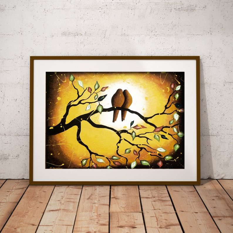 Vintage Inspired Love Birds Art Print Birds Wall Art Brown image 0