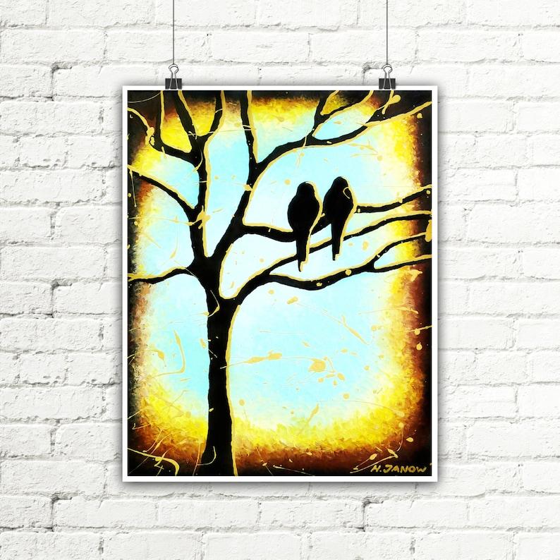 Tree Wall Art Love Birds Art Modern Art Tree Print Minimalist Print Fine Art Print Minimalist Poster Wall Art