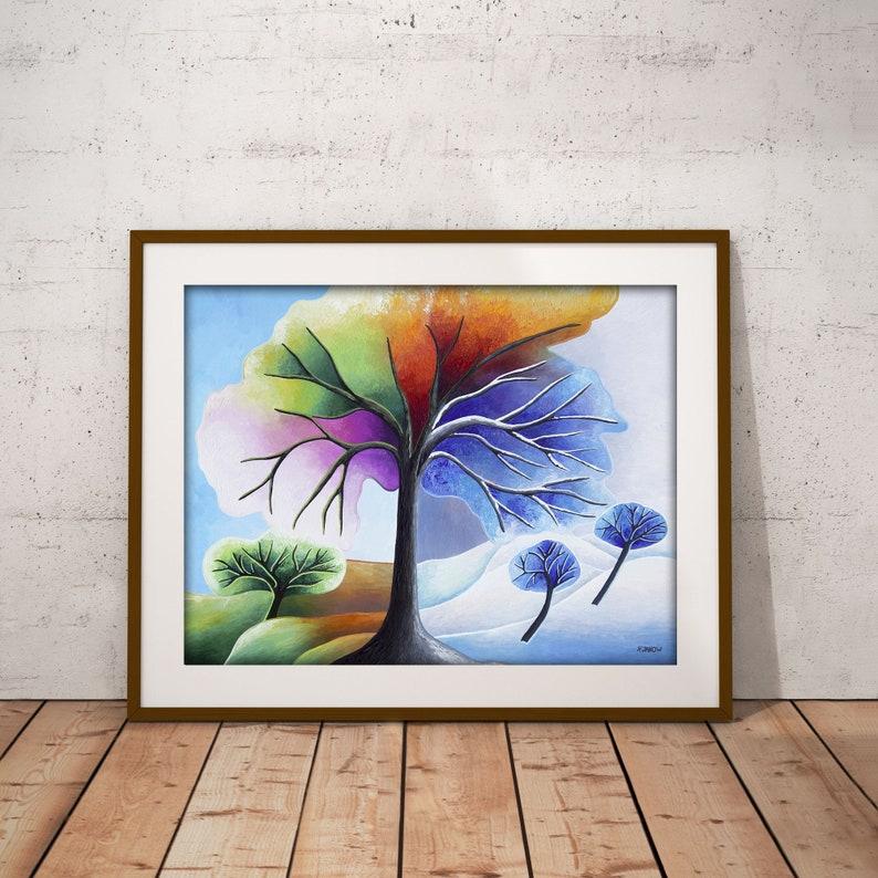 Rainbow Tree of Life Print Chakra Art Four Seasons Tree Wall image 0