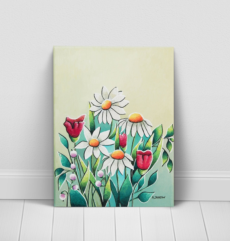 Wildflower Wall Art Flower Painting White Daisy Floral image 0