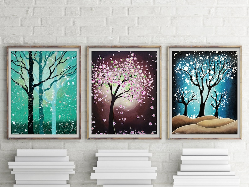 Tree of Life Wall Gallery Set of 3 Fine Art Prints Woodland image 0