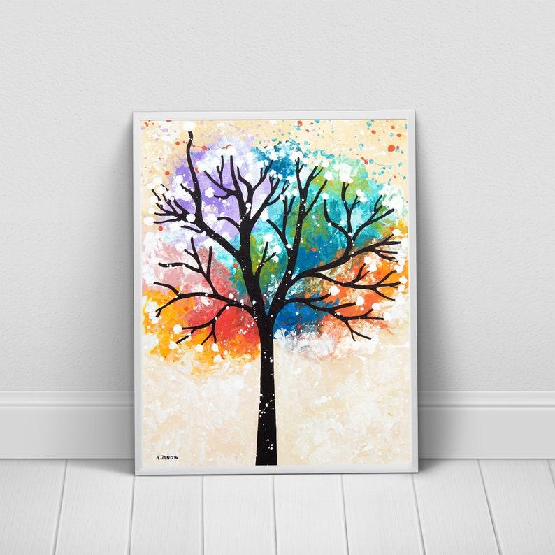 Rainbow Tree of Life Fine Art Print  Chakra Art Wall Decor  image 0