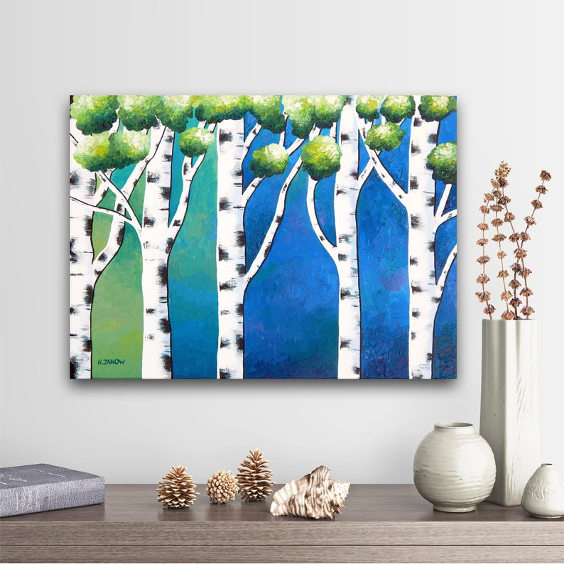 Birch Art Birch Painting Blue Wall Art Painting on Canvas image 0