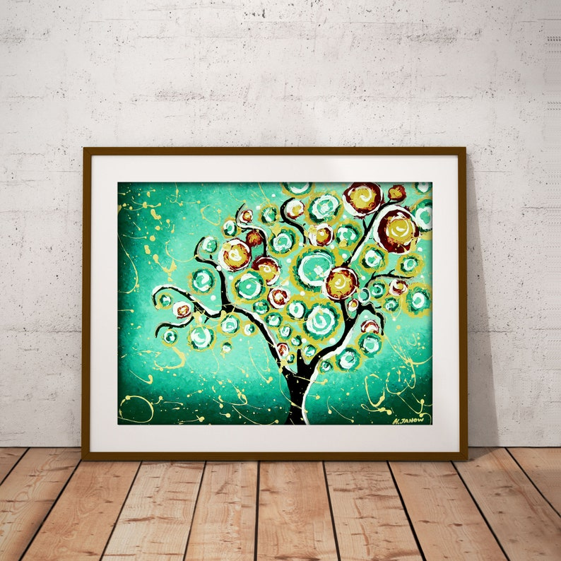 Tree Print Tree of Life Wall Art Turquoise Wall Art Print image 0