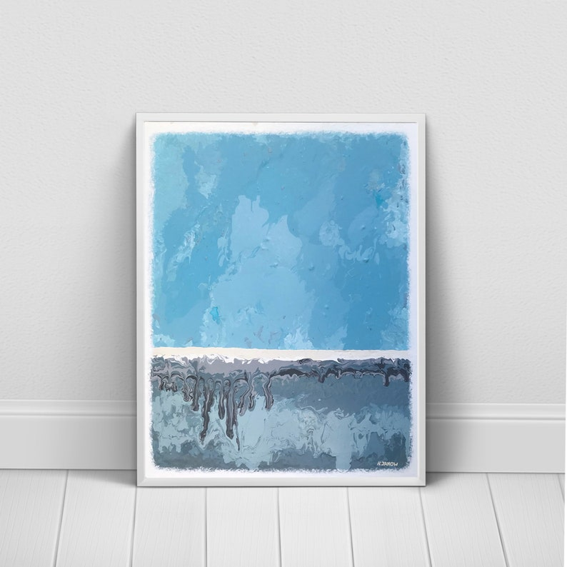 Blue Abstract Wall Art Gray Blue Giclee Print Rothko image 0