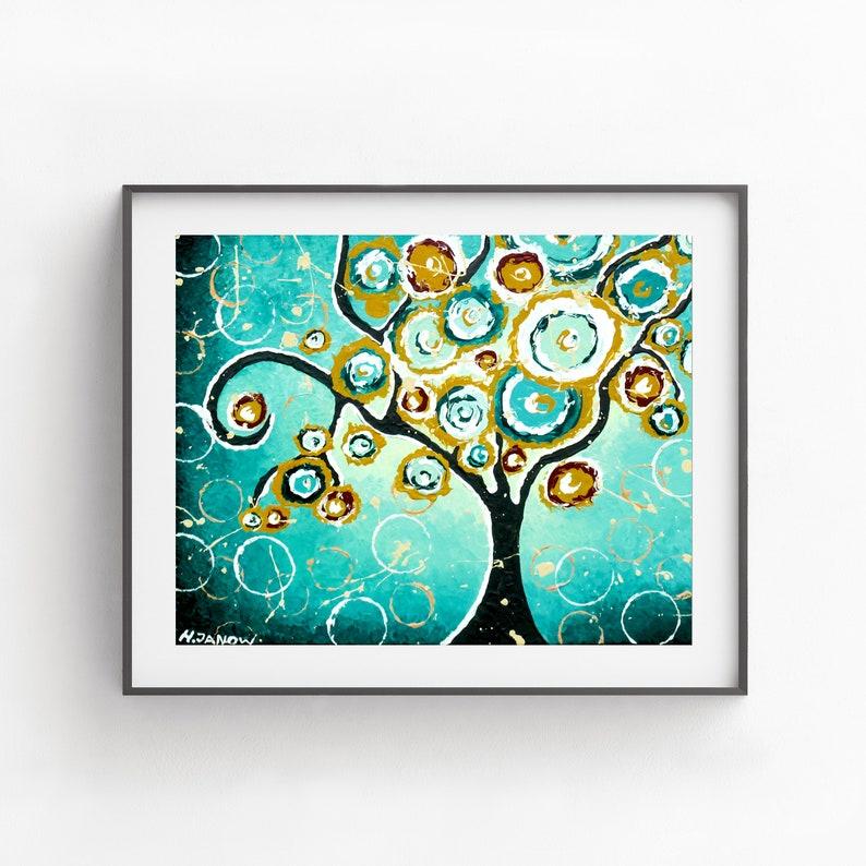 Tree Art Print Turquoise Wall Art  Tree of Life Teal Art image 0