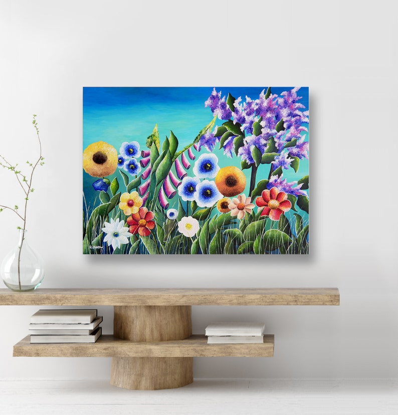 Flower Wall Art Original Flower Painting Wildflower Art Chic image 0