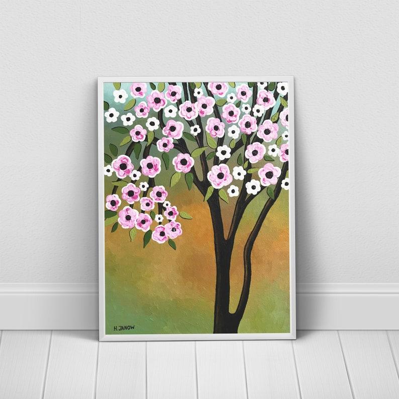 Sakura Tree Art Print Olive Green Wall Art  Pink Cherry image 0