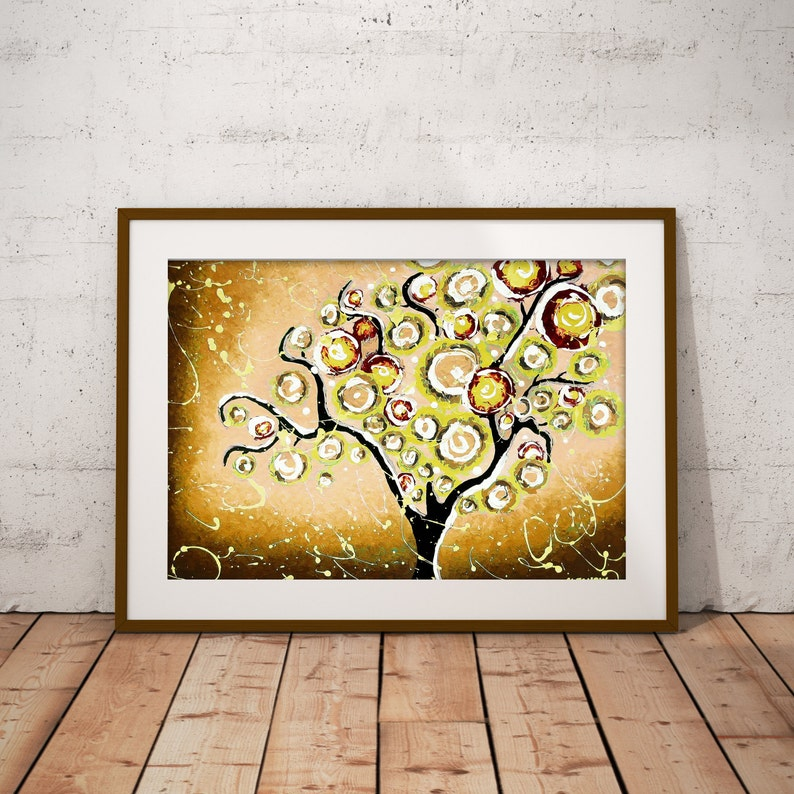 Brown Wall Art Tree Art Print Tree of Life Art Fall Tree image 0