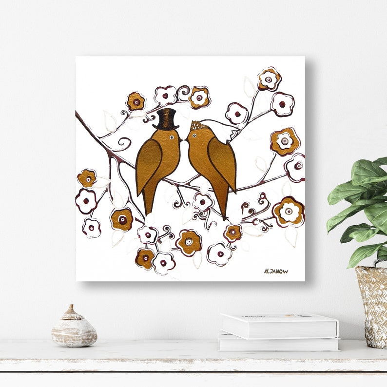 Love Birds Wedding Gift Original Acrylic Painting on Canvas image 0