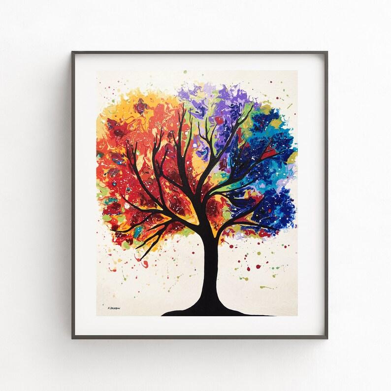 Chakra Art Tree Wall Art Print Fluid Art Tree of Life Modern image 0