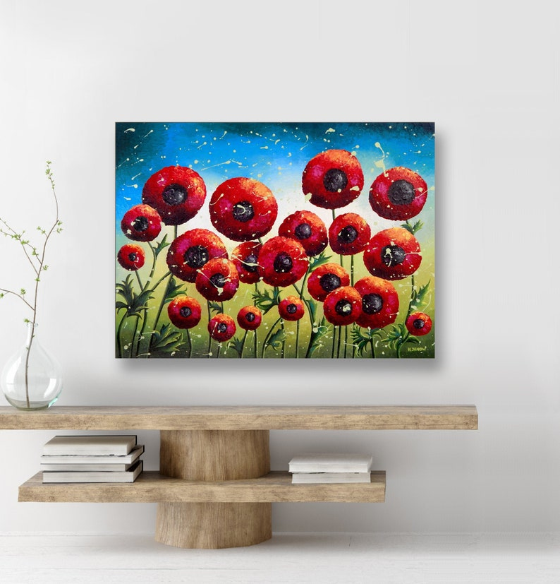 Red Poppy Flower Painting Original Acrylic Pour Painting on image 0