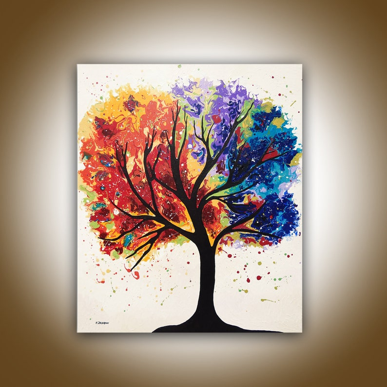 Rainbow Tree of Life Acrylic Pour Painting on Canvas Fluid image 0