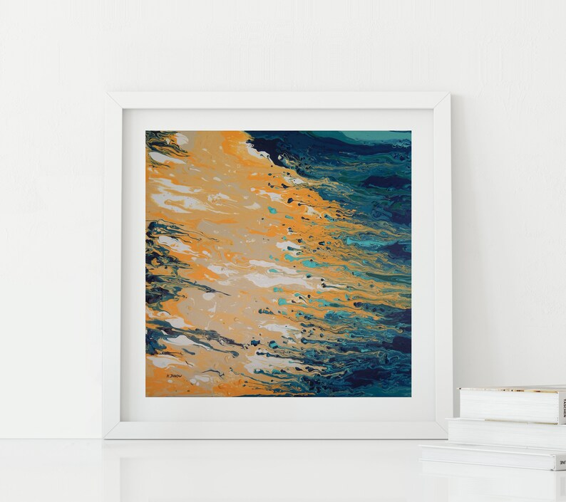 Abstract Seascape Wall Art Turquoise Beige Art Print from image 0