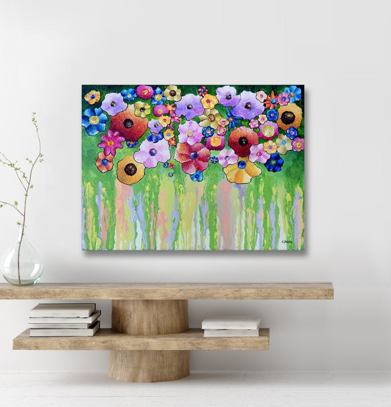 Flowers Painting on Canvas Colorful Daisies Painting Acrylic image 0