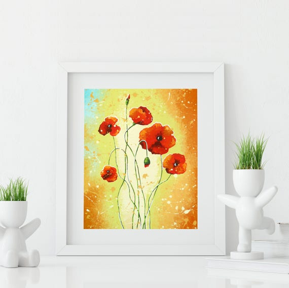 Red Poppy Art Print Wall Decor Flower Art Wall Decor Red | Etsy