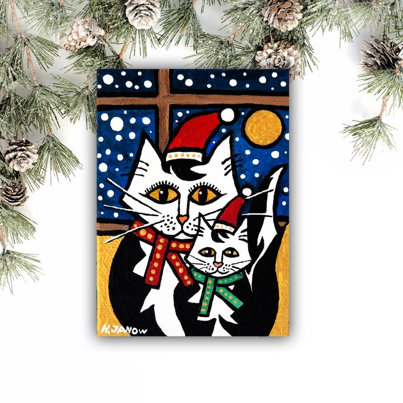 Mommy Baby Cat ACEO Tuxedo Cat Original ACEO Painting Mother image 0