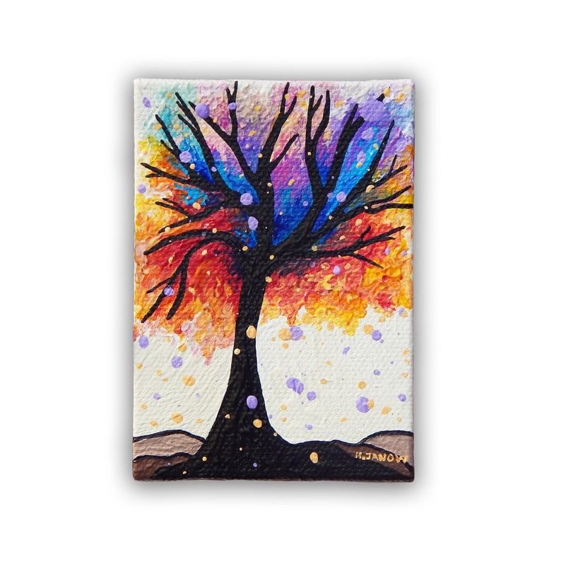 Rainbow Tree of Life ACEO Original Pour Painting  Artist image 0