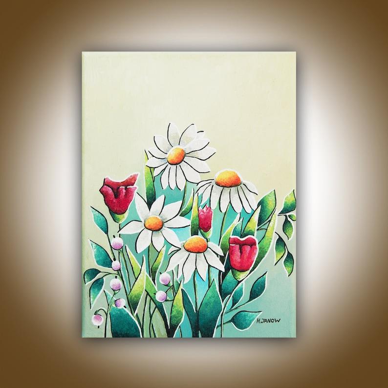 Daisy Painting Daisy Art Wildflower Painting Original Flower image 0